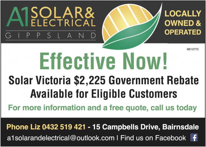 Keep an eye out for our new ad in our local newspapers - Bairnsdale Advertiser, Lakes Post etc